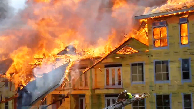 Construction worker saved from blaze